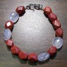 Red Jasper & Rose Quartz Bracelet Sterling Silver Clasp U.S.A.