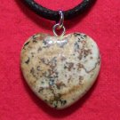 Picture Jasper Natural Stone Heart Pendant Necklace H6