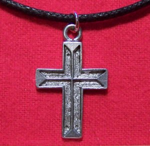 Antiqued Pewter Cross Pendant Necklace Made in the U.S.A.
