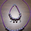 Purple Necklace & Bracelet with Purple Tribal Beads & Moons CNB5