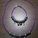Purple Necklace & Bracelet with Black Tribal Beads & Flowers CNB6