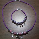 Purple Necklace & Bracelet with Red & Purple Tribal Beads & Moons & Stars CNB9