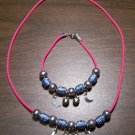 Pink Necklace & Bracelet with Blue Tribal Beads & Moons CNB12