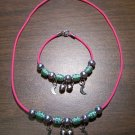 Pink Necklace & Bracelet with Green Tribal Beads & Moons CNB14