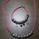 Pink Necklace & Bracelet with Tan Tribal Beads & Stars CNB16