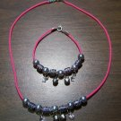 Pink Necklace & Bracelet with Black Tribal Beads & Flowers CNB17