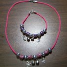Pink Necklace & Bracelet with Red & Purple Tribal Beads & Moons & Stars CNB18