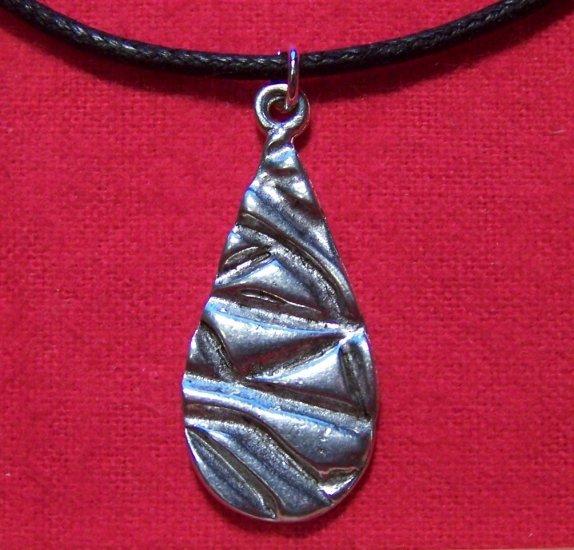 Antiqued Pewter Teardrop Large Pendant Necklace U.S.A.