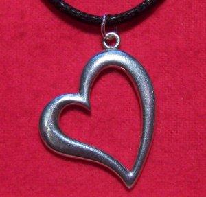 Antiqued Pewter Big Love Heart Pendant Necklace U.S.A.