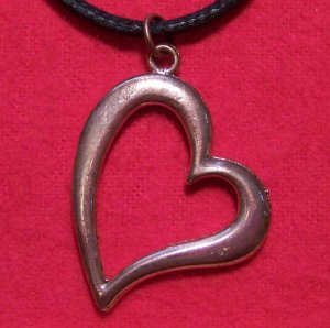 Antiqued Copper Pewter Big Love Heart Pendant Necklace