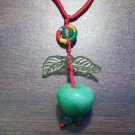 Red Macrame Necklace w/ Green Aventurine Apple Pendant