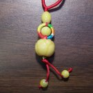 Red Macrame Necklace w/ Yellow Quartz Flower Pendant mn5
