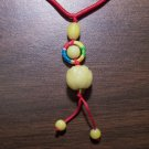 Red Macrame Necklace w/ Yellow Quartz Flower Pendant mn6