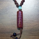 Brown Tribal Macrame Necklace with Agate Pendant mn7