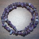 "Amethyst Natural Stone Chip Necklace 18"" Made in U.S.A. asn1"