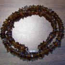 "Amber look alike Chip Glass Necklace 18"" Made in U.S.A. agn2"