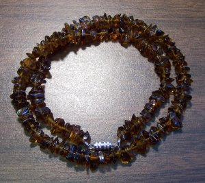 """Amber look alike Chip Glass Necklace 18"""" Made in U.S.A. agn2"""