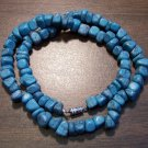 "Imitation Turquoise Pebble Necklace 18"" Made in U.S.A. ict2"