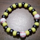 "Acrylic Black & Yellow Baseball Sport Stretch Bracelet 7"" U.S.A."