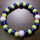 "Acrylic Blue & Yellow Baseball Sport Stretch Bracelet 7"" U.S.A."