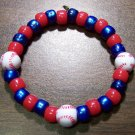"Acrylic Blue & Red Baseball Sport Stretch Bracelet 7"" U.S.A."