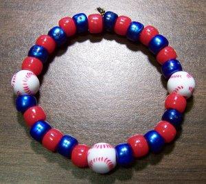 "Acrylic Blue & Red Baseball Sport Stretch Bracelet 7"" U.S.A."