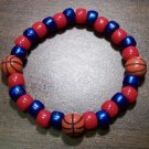 "Acrylic Blue & Red Basketball Sport Stretch Bracelet 7"" U.S.A."
