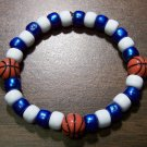 "Acrylic Blue & White Basketball Sport Stretch Bracelet 7"" U.S.A."
