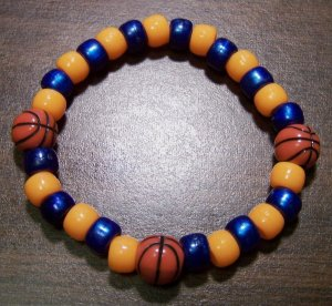 Acrylic Blue & Orange Basketball Sport Stretch Bracelet 7""