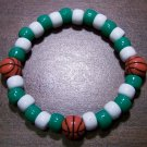 Acrylic Green & White Basketball Sport Stretch Bracelet 7""