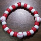 "Acrylic Red & White Baseball Sport Stretch Bracelet 7"" U.S.A."