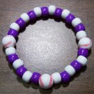 "Acrylic Purple & White Baseball Sport Stretch Bracelet 7"" U.S.A."