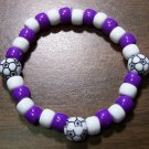 "Acrylic Purple & White Soccer Sport Stretch Bracelet 7"" U.S.A."
