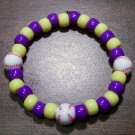 "Acrylic Purple & Yellow Baseball Sport Stretch Bracelet 7"" U.S.A."