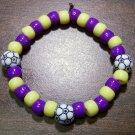"""Acrylic Purple & Yellow Soccer Sport Stretch Bracelet 7"""" U.S.A."""