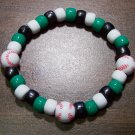 Acrylic Black, Green & White Baseball Sport Stretch Bracelet 7""