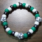 "Acrylic Black, Green & White Soccer Sport Stretch Bracelet 7"""