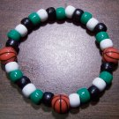 Acrylic Black, Green & White Basketball Stretch Bracelet 7""
