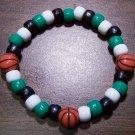"Acrylic Black, Green & White Basketball Stretch Bracelet 7"""