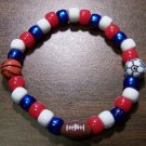 "Acrylic Red, White & Blue Sports Stretch Bracelet 7"" U.S.A."