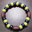 """Acrylic Black & Yellow Football Sport Stretch Bracelet 6.5"""" U.S.A."""