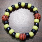 Acrylic Black & Yellow Basketball Sport Stretch Bracelet 6.5""