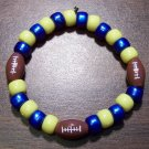 "Acrylic Blue & Yellow Football Sport Stretch Bracelet 6.5"" U.S.A."