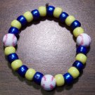 "Acrylic Blue & Yellow Baseball Sport Stretch Bracelet 6.5"" U.S.A."