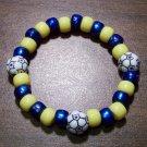 """Acrylic Blue & Yellow Soccer Sport Stretch Bracelet 6.5"""" U.S.A."""