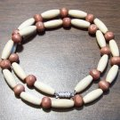 "Tribal White & Tan Wood Necklace 18"" Made in the U.S.A."