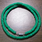 "Tribal Green Camel Bone Necklace 18"" Made in the U.S.A."