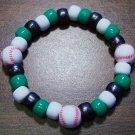 "Acrylic Black, Green & White Baseball Sport Stretch Bracelet 6.5"""