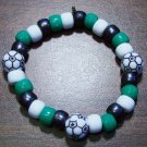 Acrylic Black, Green & White Soccer Sport Stretch Bracelet 6.5""