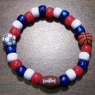 "Acrylic Red, White & Blue Sports Stretch Bracelet 6.5"" U.S.A."